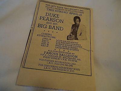 Duke Pearson Band - concert Famous Ballroom BALTIMORE MD  - 1973 newsprint ad