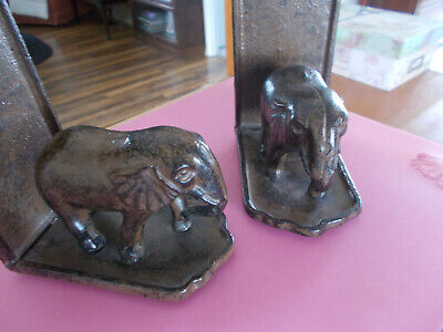 Vintage Cast Iron Bookends Elephants Pair Brown Distressed  For Pet Rescue