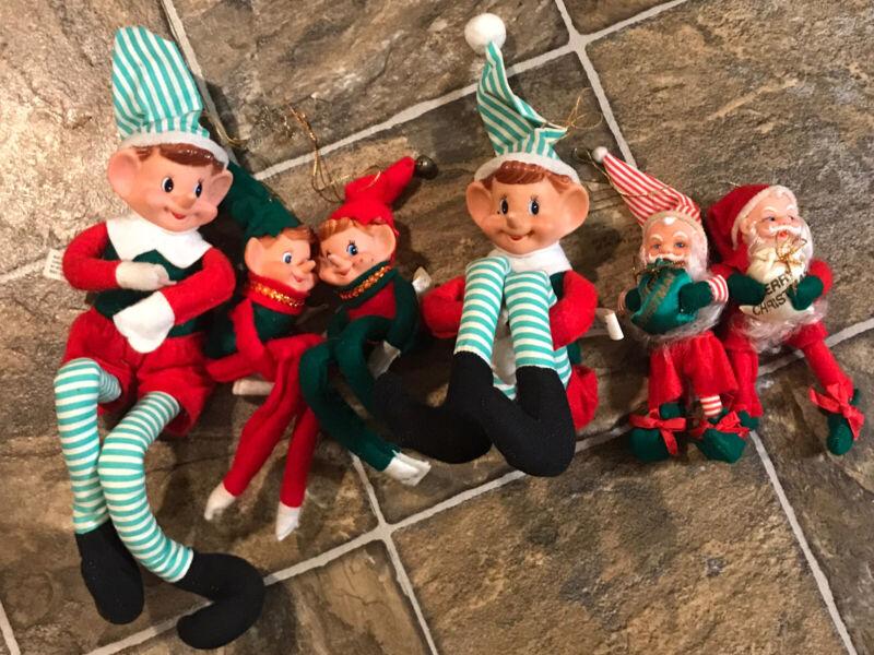 Lot of 3 Vintage Christmas Pixie Elf Knee Hugger Elves Rubber Faced Japan? Santa