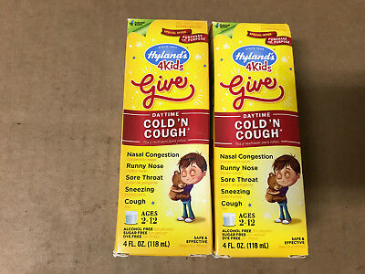 Childrens Cough - HYLAND'S 4 KIDS COLD'N COUGH ~ 4 FL OZ EACH ~ AGES 2-12 (Pack of 2)