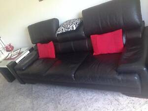 Black leather couches Greenacre Bankstown Area Preview