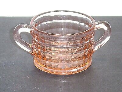 Anchor Hocking Depression Glass Block Optic Pink Open Sugar