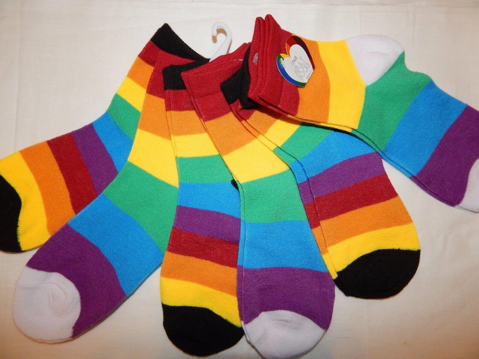 6 Pair Socks 9-11 Adult Rainbow Striped Red Yellow Purple Pr