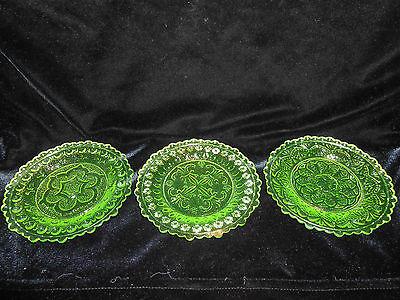 SET 3 Green Vaseline Rose pattern glass plates uranium Flower floral radioactive