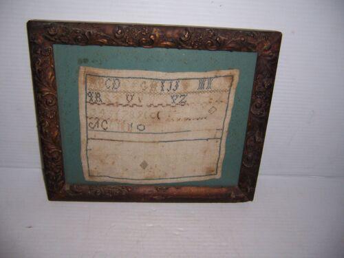 Antique Framed Needlepoint Cross Stitch Sampler