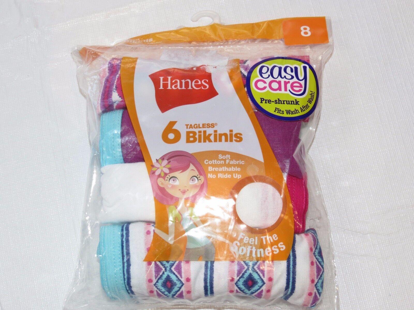 Mädchen Jugend Hanes Etikettenlos Bikinis 6er Pack Paar Unterwäsche Slip Größe 8