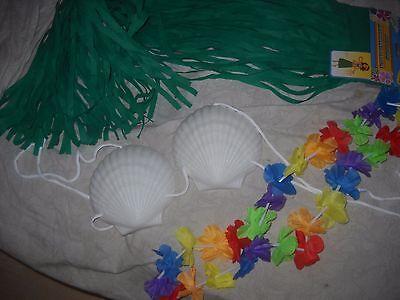 4 Mermaid Hula Girl Luau Costume - Grass Skirt - Plastic Seashell Bra - Girls Hula Costume
