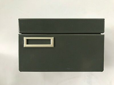 Vintage Steel Metal Index Card File Box
