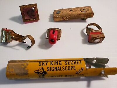 1940s Jewelry Styles and History SKY KING Premium Toy Lot 4 Rings Signalscope Spy Detecto Writer 1940s  $129.99 AT vintagedancer.com
