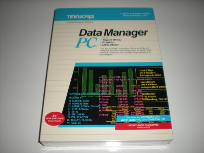 Timeworks Data Manager PC dos database new in box 5.25""