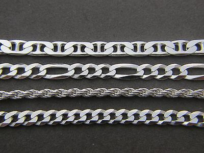 Real 925 Sterling Silver  Chain Necklace Figaro Cuban Curb Rope Mariner