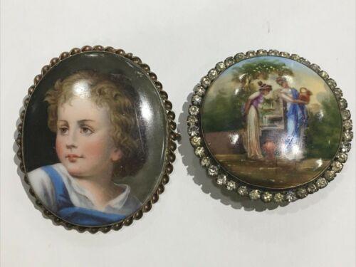 2pc lot Antique Hand Painted Porcelain Brooch -Child / Figures