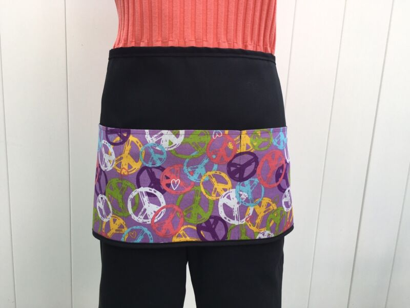 46bd4343c2b Black Peace Sign server waitress waist apron 3 Pockets restaurant .classyaprons