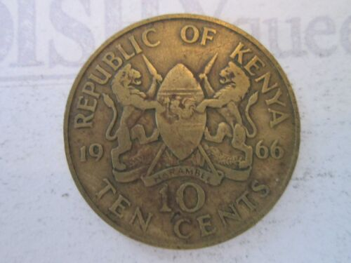 1966 TEN 10 CENTS! Vintage KENYA coin: NICKEL BRASS composition     IS254