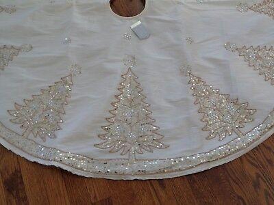 GLITZ & GLIMMER LUXURY WHITE JEWELED BEADED SEQUIN GOLD CHRISTMAS TREE SKIRT  Beaded Christmas Tree Skirt