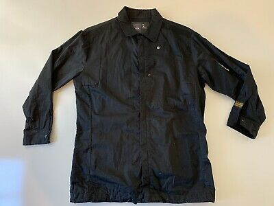 G-Star Zip Front Long Sleeve Collared Shirt Men's Size XL Solid Black