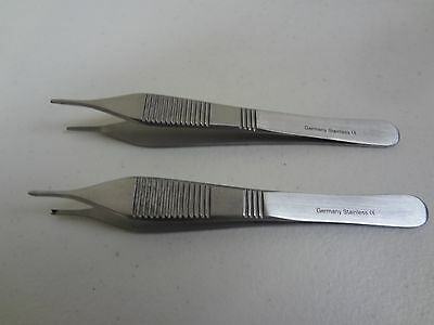 2pcs Adson Forceps 4.75german Stainless Steel Ce Surgical Serrated 1x2 Teeth