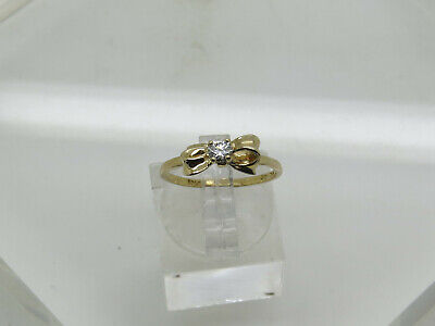 PETITE 14k Yellow Gold Round 3.3mm White Stone Solitaire Ribbon Bow Ring Sz 5.75 14k Gold Ribbon Ring