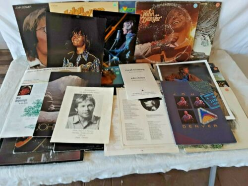 JOHN DENVER Music Collection Lot of 30+ Eulogy Programs Records T Shirts Poster