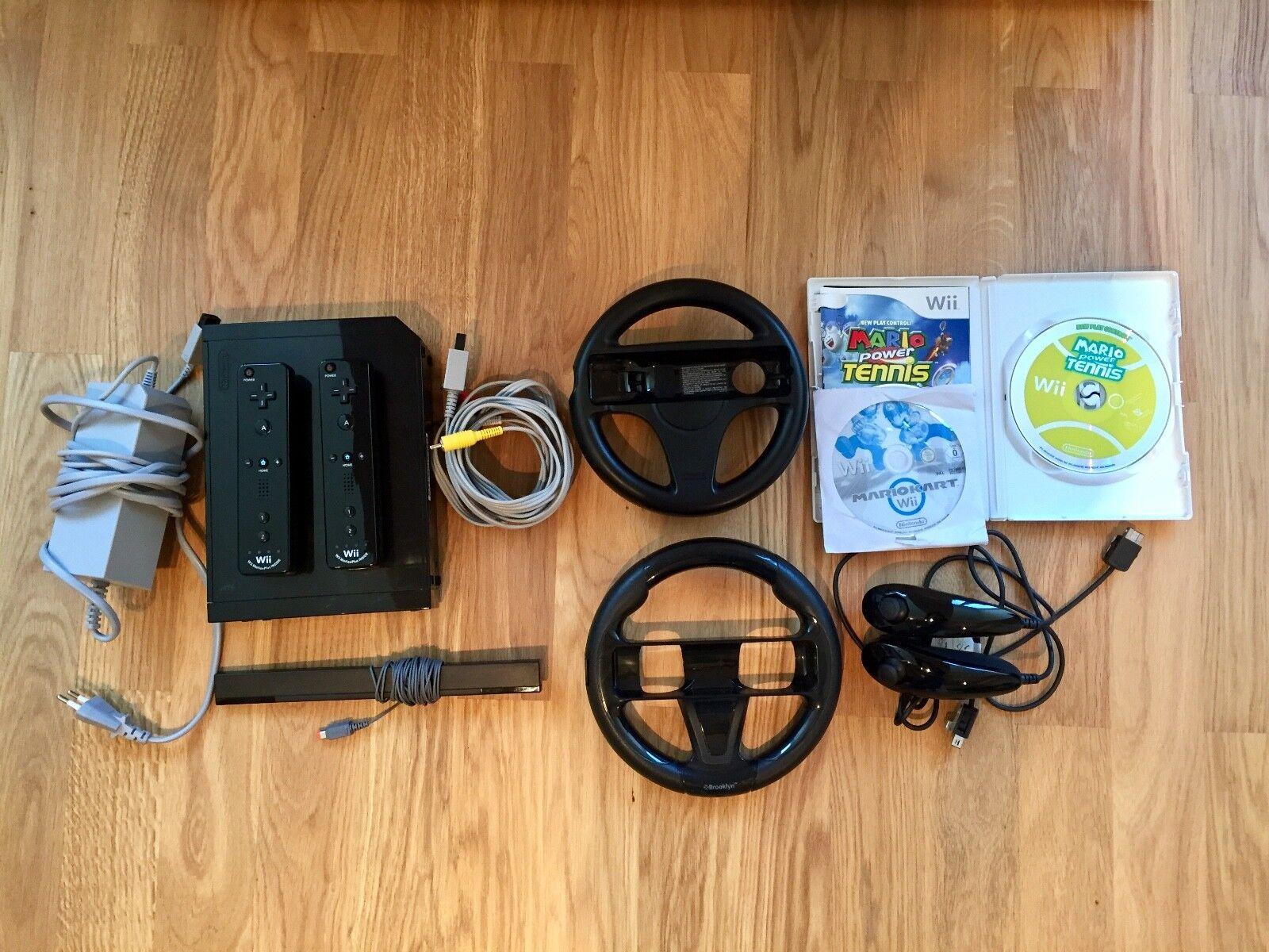 Nintendo Wii Spielkonsole Schwarz - Mario Kart Starterset Komplett für 2 Spieler