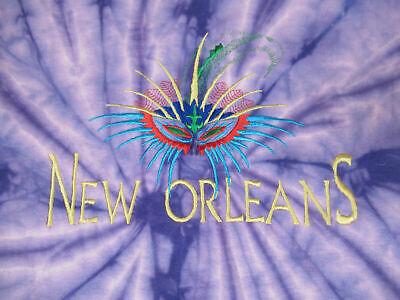Nwot New Orleans Bestickt Marti Gras Maske Kleine Lila Batik T-Shirt A 523