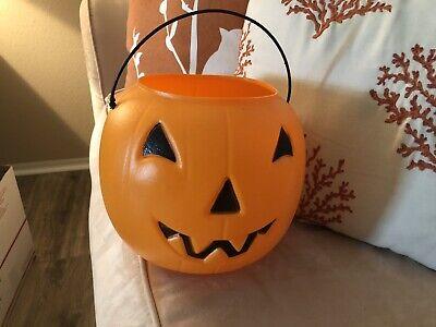 Vtg. GENERAL FOAM PLASTICS Orange Halloween Pumpkin Blow Mold Candy Bucket USA 2