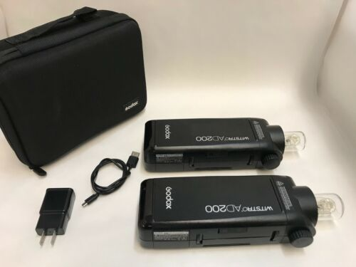 Lot of 2 Godox Witstro AD200 Pocket Flash  ++LOOK & READ++