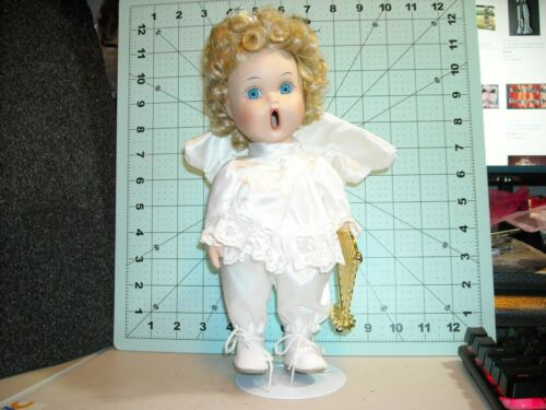 """ANCO angel singing open mouth porcelain doll 11"""" blonde wig blue eyes dimples"""