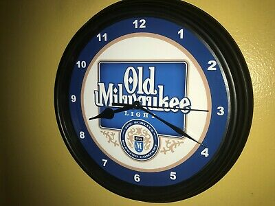 Old Milwaukee Light Beer Bar Man Cave Advertising Black Wall Clock Sign ()