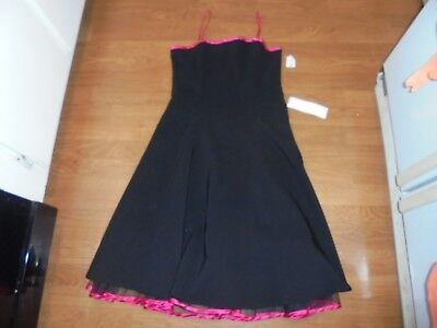 NWT Another Thyme black party dress with pink trim and built in slip size 4