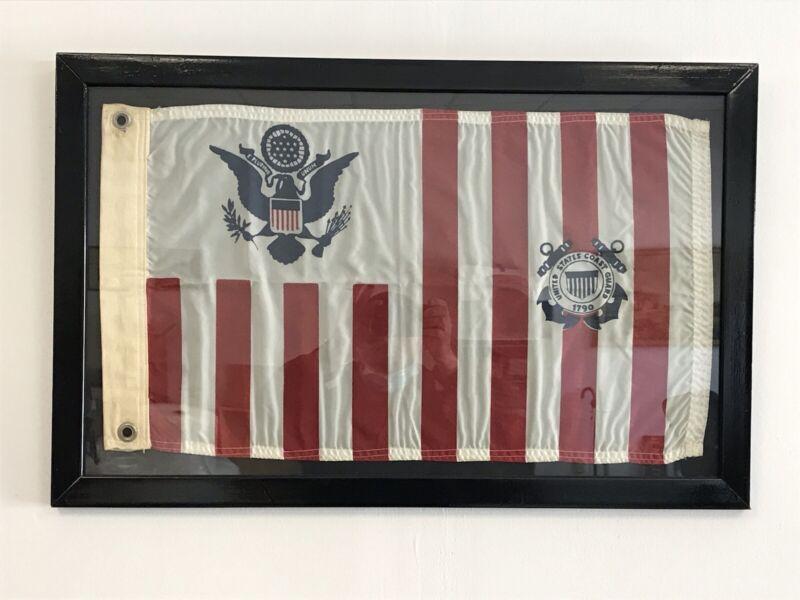 Vintage U.S. Coast Guard Ensign Semper Paratus  Flag 18x29 Framed