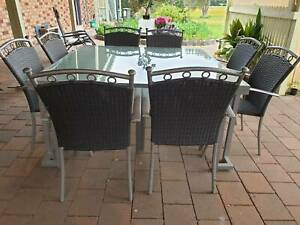8 Chair Rattan Outdoor Setting