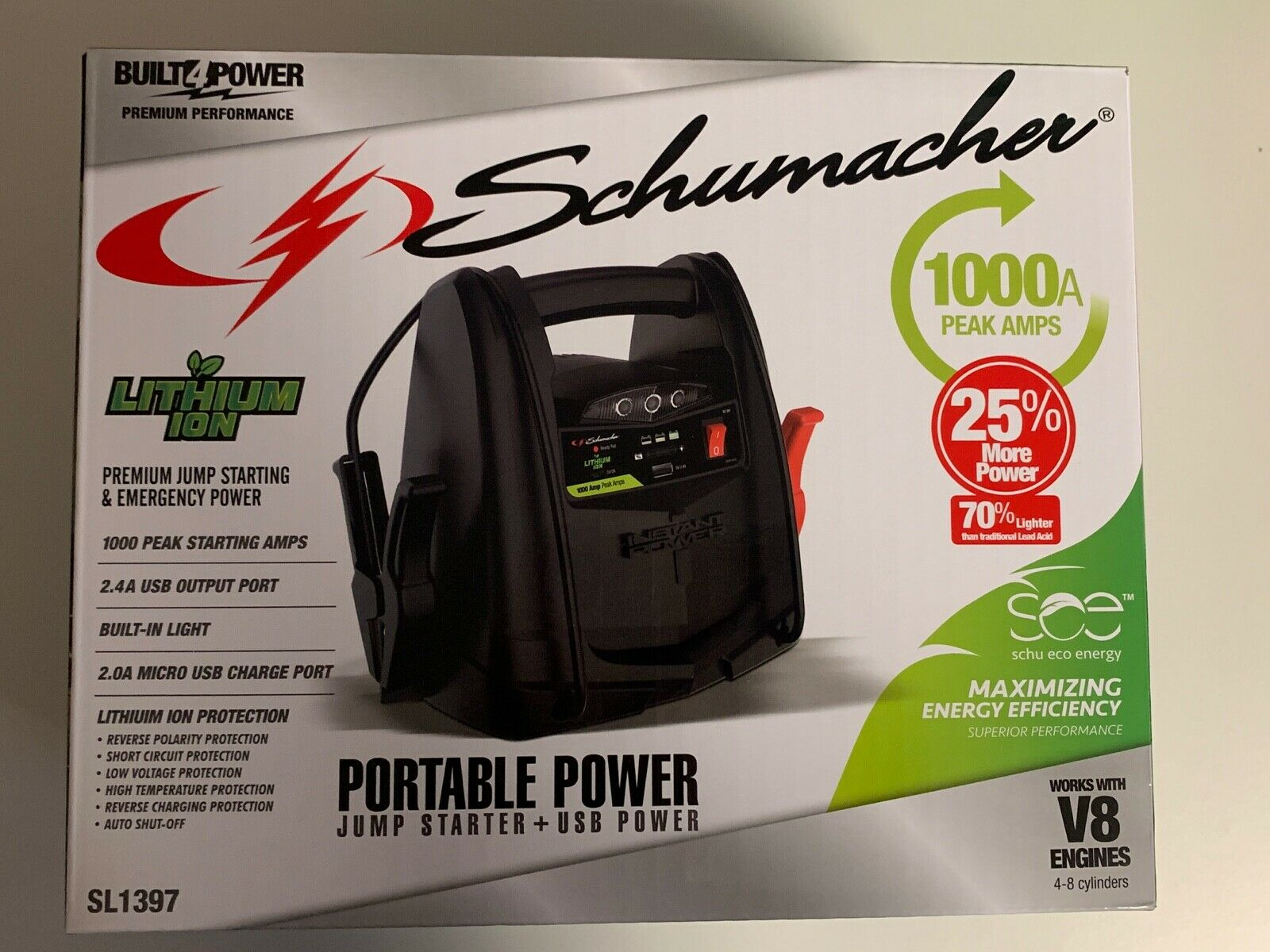 Schumacher Portable Power Jump Starter Car Vehicle 1000 Amps SL1397 New