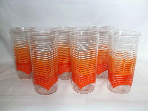 Set/6 MCM Vintage ANCHOR HOCKING Orange Ombre Iced Tea Tumbler Drinking Glasses