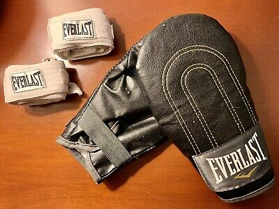 Lot of Black Everlast Bag Boxing Gloves and White Everlast Hand Wraps