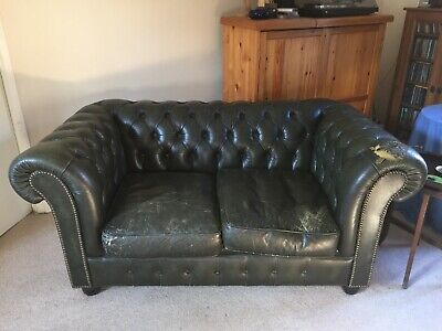2 seater Chesterfield leather sofa
