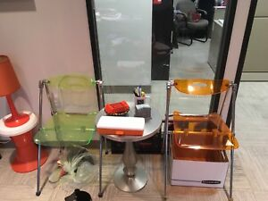 Pair of mid century Lucite chairs orange and green