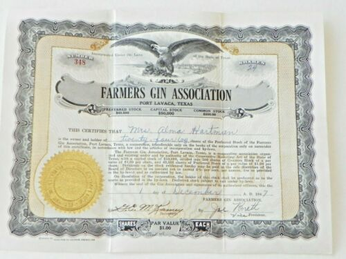 Vintage 1940s-50s Texas Stock Certificates