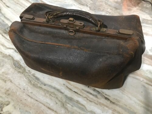 1909 Antique leather bag insquibed