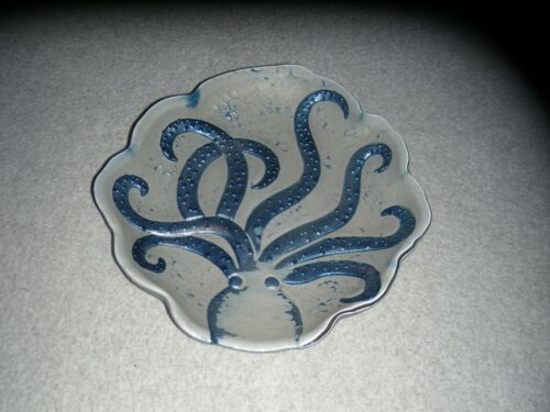 Octopus Squid Cuttlefish Clear Glass Reverse Painted Blue Grey Silver Dish Plate