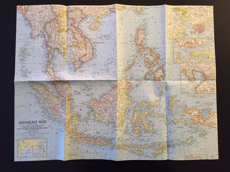 Vintage 1961 National Geographic Society Map of Southeast Asia