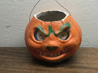 "Vintage Halloween 1950s Paper Mache Lantern in good condtion ~5 1/2"" tall X 7"""