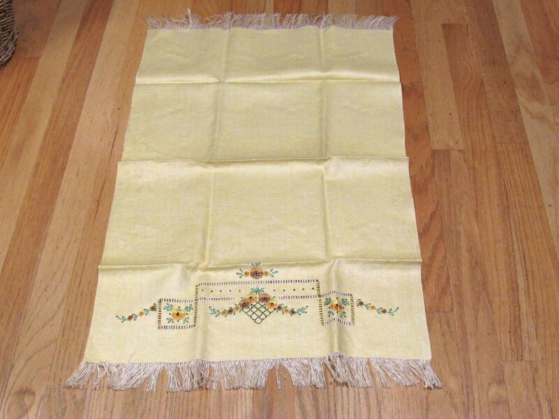 "Antique Lemon Yellow Linen Embroidered Fringe Bath Guest  30"" Towel Unused"