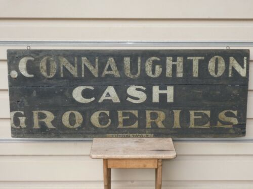 RARE 19th C OLD ORIGINAL EARLY CASH GROCERIES SAND PAINT WOOD TRADE SIGN ANTIQUE