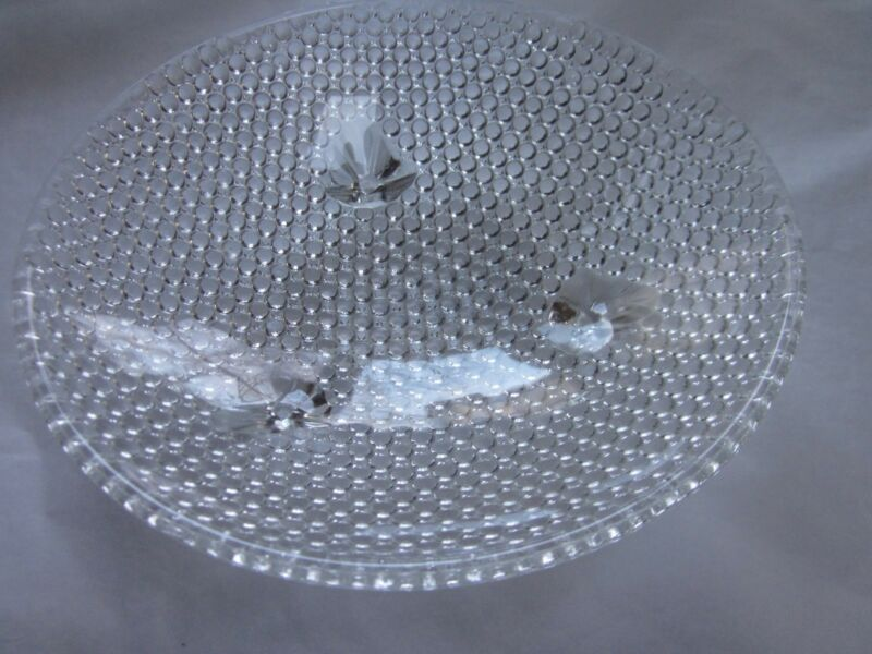 CLEAR GLASS HOBNAIL ROUND CANDY DISH THREE SMALL FEET