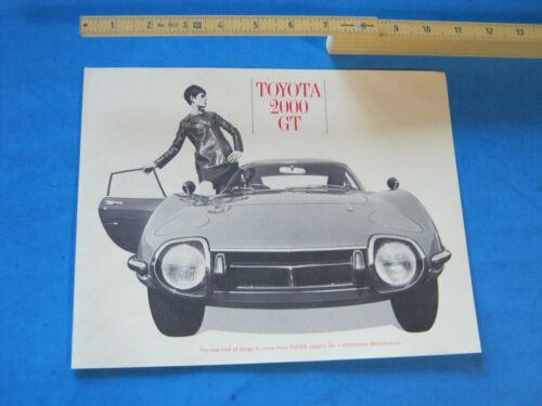 1967 TOYOTA 2000GT  2000 GT BROCHURE ORIGINAL
