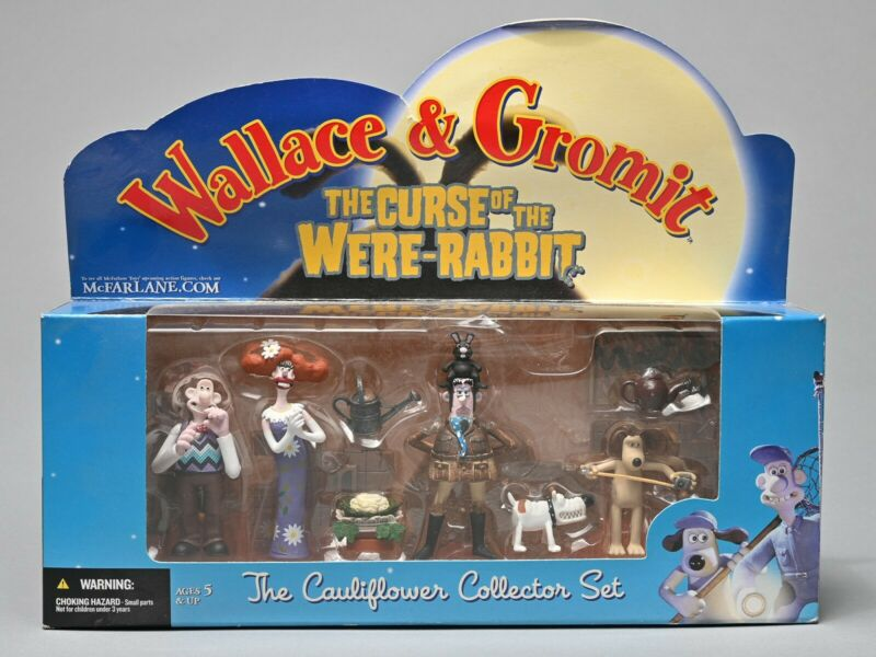 NEW! WALLACE & GROMIT  THE CURSE OF THE WERE-RABBIT CAULIFLOWER COLLECTOR SET