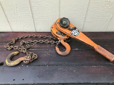 Vintage Beebe Wasp 1 12 Ton Lever Chain Hoist Lv 3000  5 12 Ft Of Lift