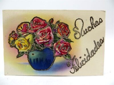 Vintage Early 1900's Postcard - Many Congratulations - Spanish - Glitter Roses