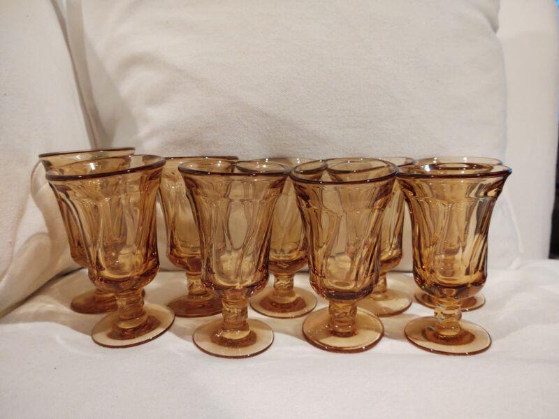 Vintage Fostoria Jamestown Amber Juice Glasses Set of 9